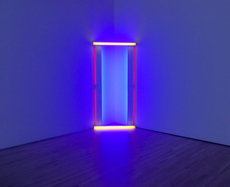 Dan Flavin, The Diagonal of May 25, 1963. Blue fluorescent light. (Photo: John Held, Jr.)