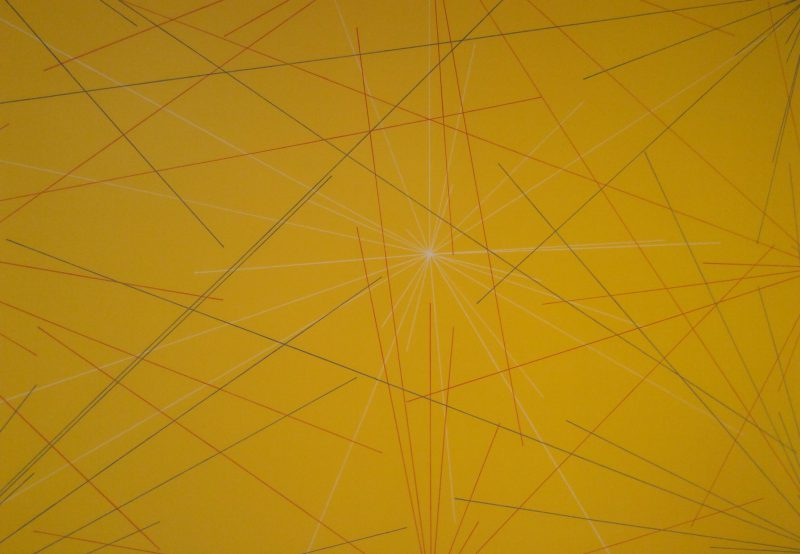 Sol Lewitt, Wall Drawing 280 (detail), January 1976. Graphite, crayon, and yellow acrylic paint on wall. (Photo: John Held, Jr.)