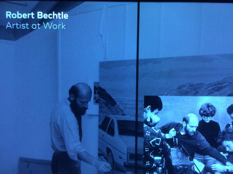 Educational screen featuring San Francisco artist, Robert Bechtle. (Photo: John Held, Jr.)