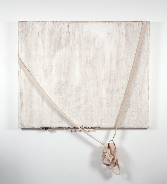 Margie Livingston, Dragged Painting with Harness, 2016. Acrylic paint, canvas, hardware, dirt, harness, 52 x 64 x 1.5 inches.  Courtesy Luis De Jesus Los Angeles
