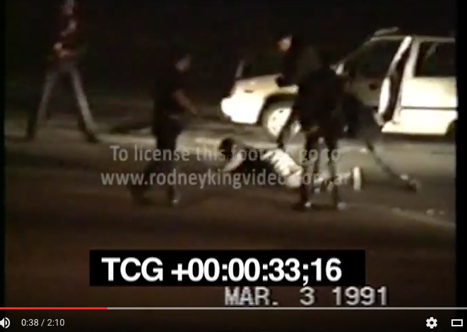Still from video, Rodney King beating, 1991. Courtesy the Internet.