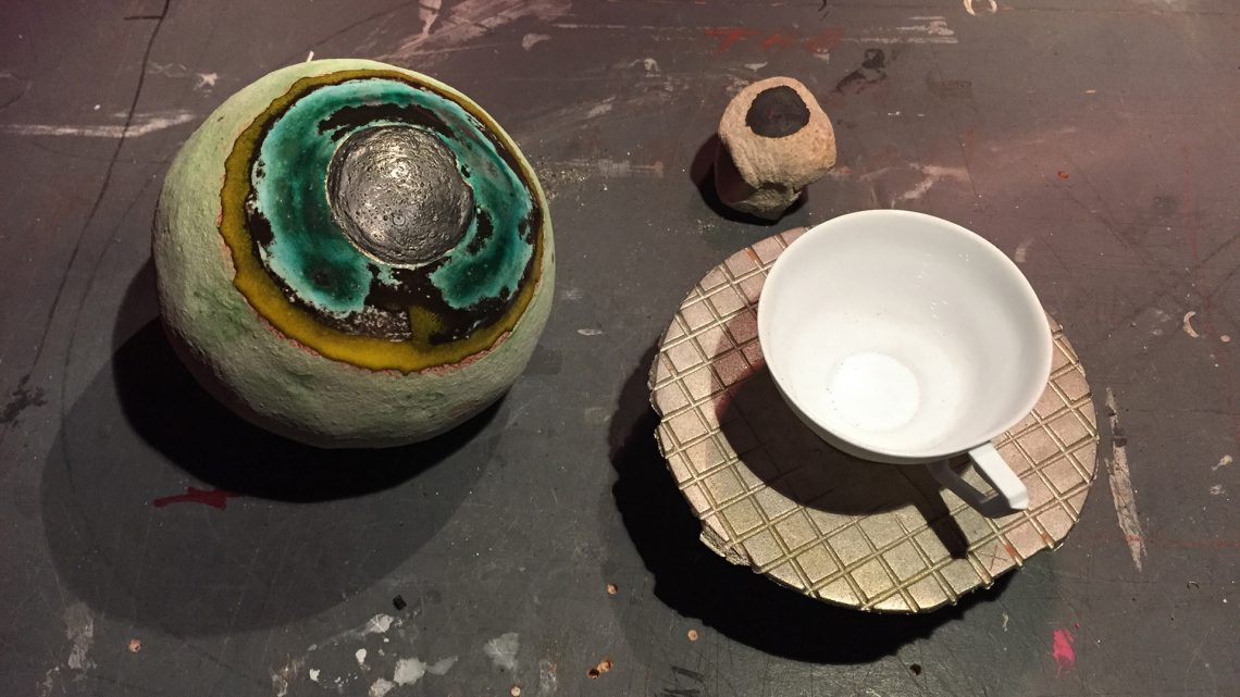 JJ PEET, studio view with stoneware Eyeball Viewer and bone china cup, 2016. Courtesy of On Stellar Rays.