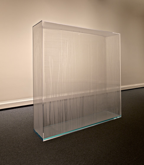 Condensation Wall, 1963-66. Acrylic plastic, distilled water, 70 x 70 x 16 inches. Edition 1 of 3: Collection Jill and Peter Kraus; Edition 2 of 3: Collection National Gallery, Washinton, D.C.; Edition 3 of 3: Collection Museum Ludwig, Cologne, Germany. © Hans Haacke/Artists Rights Society (ARS), New York. Photo Lee Ewing. Courtesy of the artist and Paula Cooper Gallery, New York.