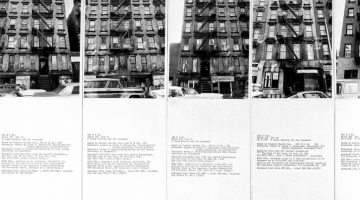 Shapolsky et al. Manhattan Real Estate Holdings, a Real-Time Social System, as of May 1, 1971, 1971. Two maps (photo enlagements), each 24 x 20 inches; 142 photos and 142 typewritten sheets, each 10 x 8 inches; 6 charts, each 24 x 20 inches; one explanatory panel, 24 x 20 iinches. © Hans Haacke/Artists Rights Society (ARS), New York. Courtesy of the artist and Paula Cooper Gallery, New York. Edition 1 of 2: Collection of Centre Pompidou, Paris. Edition 2 of 2: Jointly owned by MACBA, Barcelona and Whitney Museum of American Art, New York.
