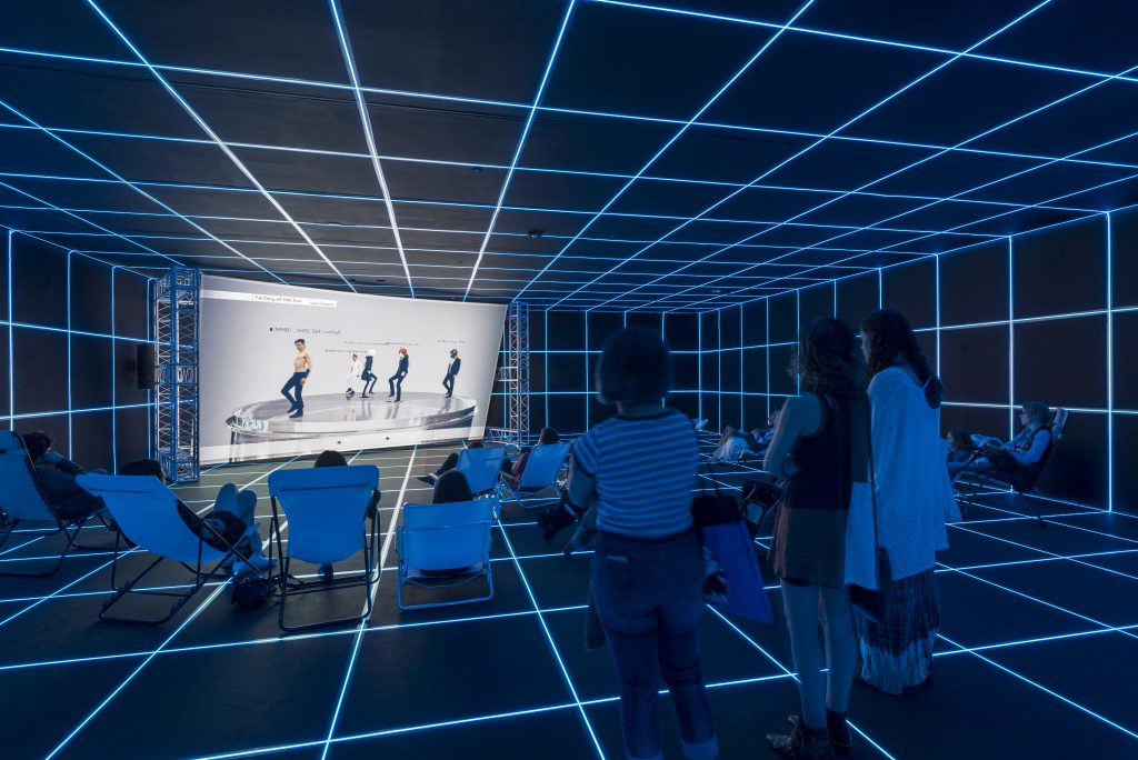 Installation view of Hito Steyerl: Factory of the Sun, February 21–September 12, 2016 at MOCA Grand Avenue, courtesy of The Museum of Contemporary Art, Los Angeles, photo by Justin Lubliner