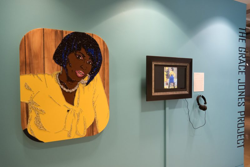 Mickalene Thomas, Ain't I A Woman (Keri), 2009. DVD and framed monitor, rhinestones, acrylic and enamel on wood panel; 36 x 28 inches (painting), 36 x 58 inches (overall). Courtesy of the artist and Artists Rights Society (ARS), New York