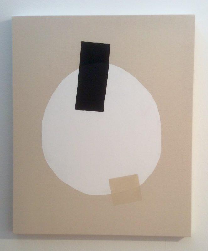 "Ethan Caflisch, A Brace of Birds, 2016. Paint, Acrylic, Brass Brads on Canvas, 34"" x 28""."