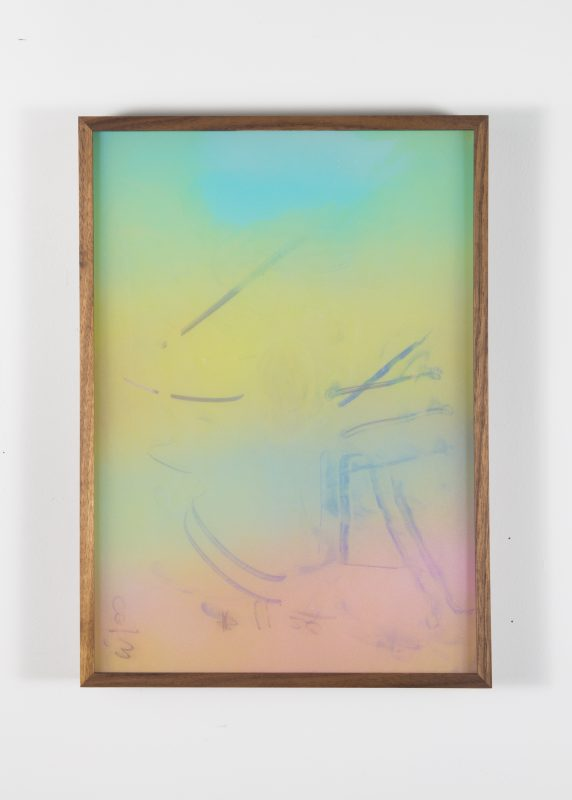 Ivan Iannoli. Untitled (Gradient), 2016. Airbrush on plexi, spray enamel, acrylic paint on plexi, 14 x 10 inches. Courtesy of the artist and Bass & Reiner Gallery, San Francisco.