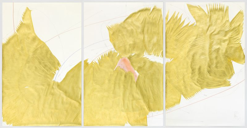 Jorinde Voigt, 5 Cavallini - Sequences, 2015. Ink, gold, oil pastel, pastel, pencil; triptych, each sheet: 86 5/8 x 55 1/8 in (220 x 140 cm), overall framed dimensions: 90 3/4 x 178 in © Jorinde Voigt, Courtesy David Nolan Gallery, New York