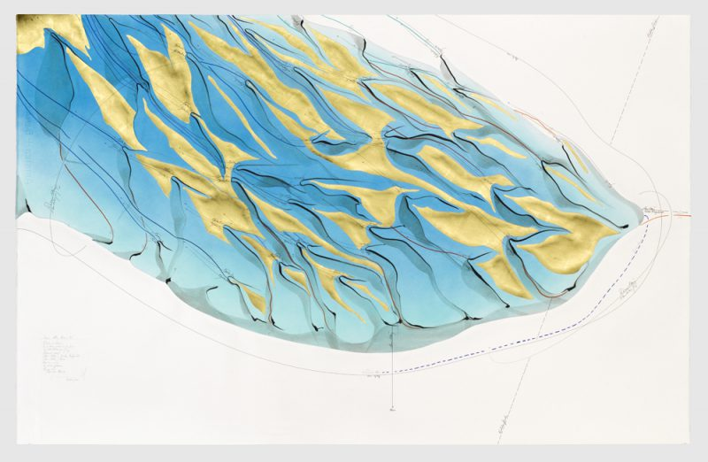 Jorinde Voigt, Hauro-Algorithmus (6), 2015. Ink, indian ink, gold leaf, pastel, oil pastel, pastel on paper, mounted on canvas, 35 7/16 x 55 1/2 in: 90 x 141 cm © Jorinde Voigt, Courtesy David Nolan Gallery, New York