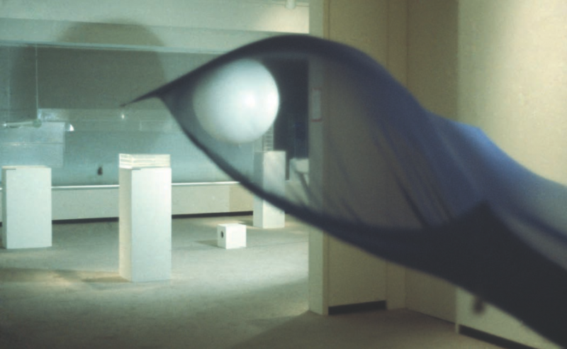 Blue Sail, 1964-65. Chiffon, oscillating fan, fishing weights and thread, dimensions variable. © Hans Haacke/Artists Rights Society (ARS), New York. Photo by Hans Haacke. Courtesy of the artist and Paula Cooper Gallery, New York.