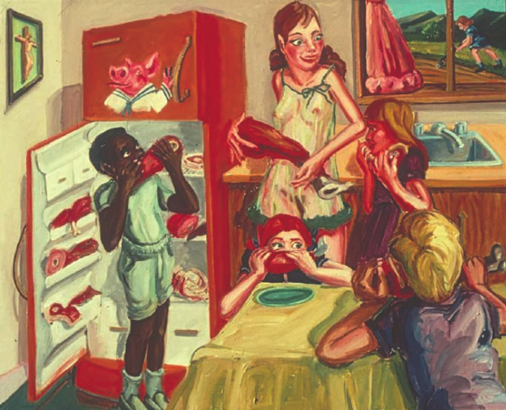 James Albertson, Sex, Violence, Religion + the Good Life, 1976. Oil on canvas, 39 x 48 inches. Courtesy of the Albertson/Stagg Collection.