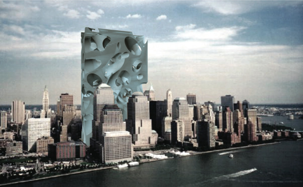 Project for a new World Trade Center, New York, 2002. Acconci Studio (V.A., Dario Nunez, Peter Dorsey, Stephen Roe, Sergio Prego, Gia Wolff). Courtesy of the artist.