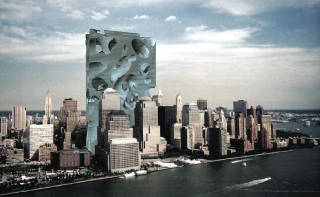 Project for a new World Trade Center, New York, 2002. Acconci Studio (V.A., Dario Nunez, Peter Dorsey, Stephen Roe, Sergio Prego, Gia Wolff). Courtesy of the artist.