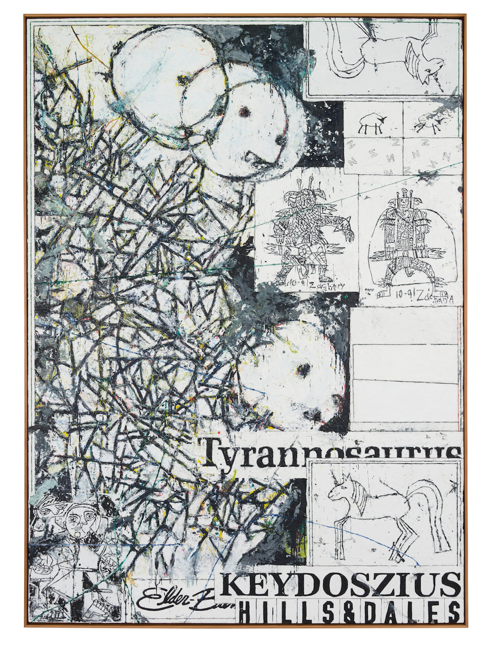Keydoszius black and white, 2016. Oil and encaustic on canvas in artist's frame, 84 x 60 inches. Courtesy of the artist and Feuer/Mesler.