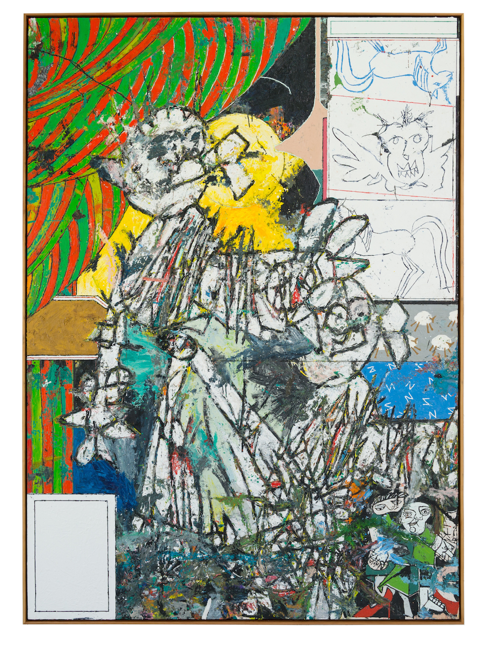 Large painting with red and green curtain, 2016. Oil and encaustic on canvas in artist's frame, 84 x 60 inches. Courtesy of the artist and Feuer/Mesler.