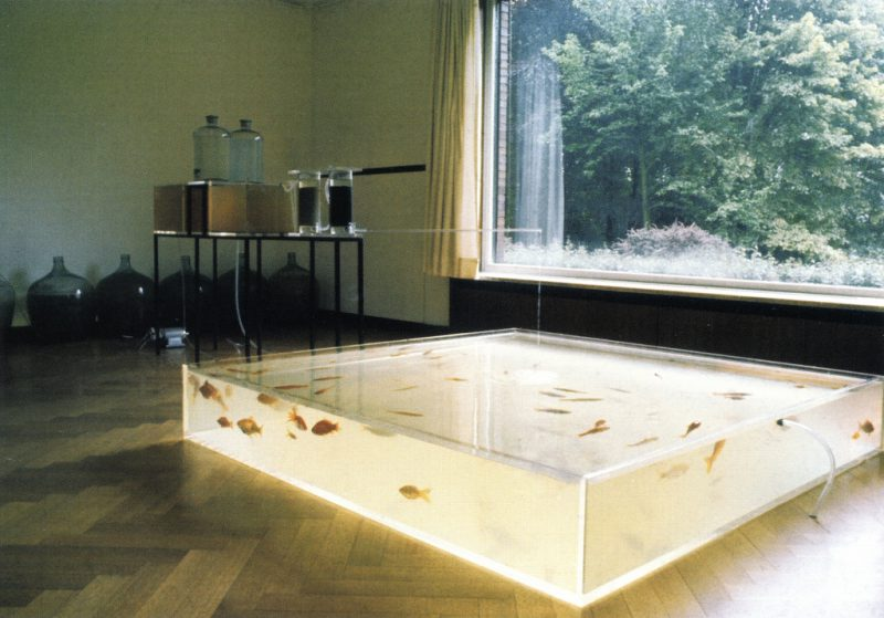 Rhinewater Purification Plant, 1972-2013. Archival inkjet print, 20 x 30 inches. Solo exhibition at the Museum Haus Lange, Krefeld, 1972. © Hans Haacke/Artists Rights Society (ARS), New York. Photo by Hans Haacke. Courtesy of the artist and Paula Cooper Gallery, New York..