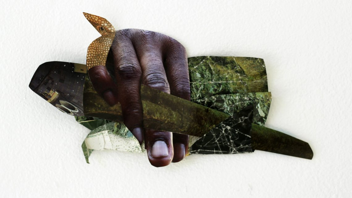 Suné Woods, Mano a Mano, 2015. 5 x 9 inches, mixed media collage