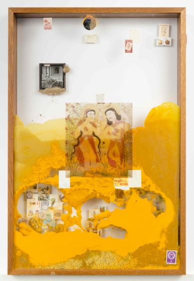 Terence Koh, in persia there is a garden that apples are dreaming now, 2016. 31 x 25 x 2.75 inches stamps, glass lanten slide, tumeric, pollen, beeswax, baby snake skeleton. Courtesy of Andrew Edlin Gallery