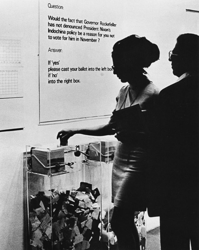 MoMA Poll, 1970. 2 transparent ballot boxes with automatic counters, and color–coded ballots. © Hans Haacke/Artists Rights Society [ARS], New York. Courtesy of the artist and Paula Cooper Gallery, New York.