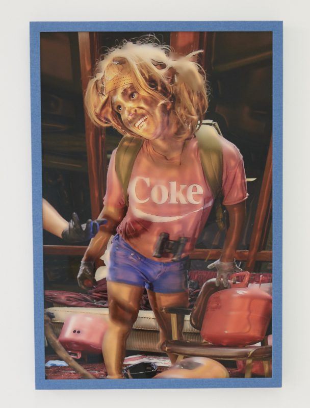 Ryan Trecartin, The Friendliest Survival Planner Yet, 2015. Digital print, hand wrapped custom frame, denim, glue, wood, non-glare plexiglass, aluminum backing, 38 x 26 x 1/2 inches. Courtesy the artist and Farago Gallery.