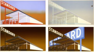 Ed Ruscha, Standard Station, Mocha Standard, Cheese Mold Standard with Olive, and Double Standard, 1966-1969. Four screenprints on wove paper, 25.75 × 40 inches each. Editions of prints in order of title: Edition of 50, 100, 150 , and 40. © Ed Ruscha. Courtesy of Gagosian Gallery.