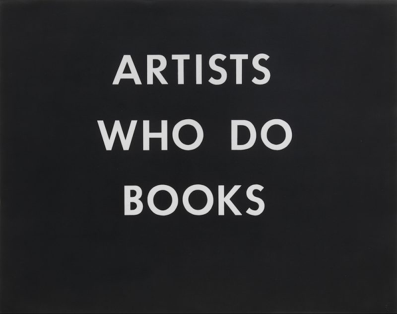 Ed Ruscha, Artists Who Do Books, 1976. Print, 22.75 × 28.75 inches. © Ed Ruscha. Courtesy of Gagosian Gallery.
