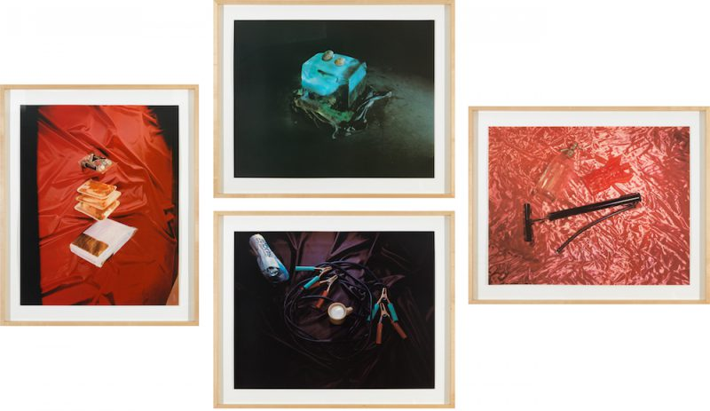 Sweets, Meats, Sheets; Closed; Air, Water, Fire; and Open from Tropical Fish Series, 1975. 4 Color screen prints, Each: 25.75 × 32.75 inches. Sweets, Meats, Sheets: Edition of 55. Closed: Edition of 53. Air, Water, Fire: Edition of 57. Open: Edition of 56. © Ed Ruscha. Courtesy of Gagosian Gallery.