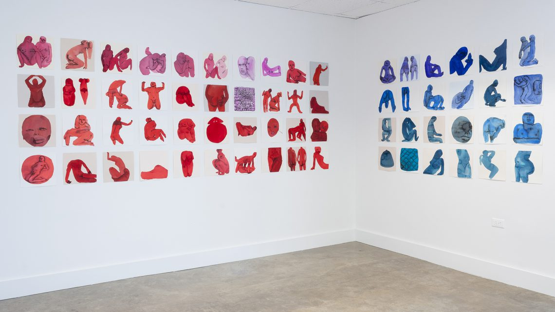 Emma Kohlmann, One-hundred-and-eight untitled works on paper. Watercolor and Sumi ink, various dimensions. Courtesy of the Museum of Contemporary Art Tucson.