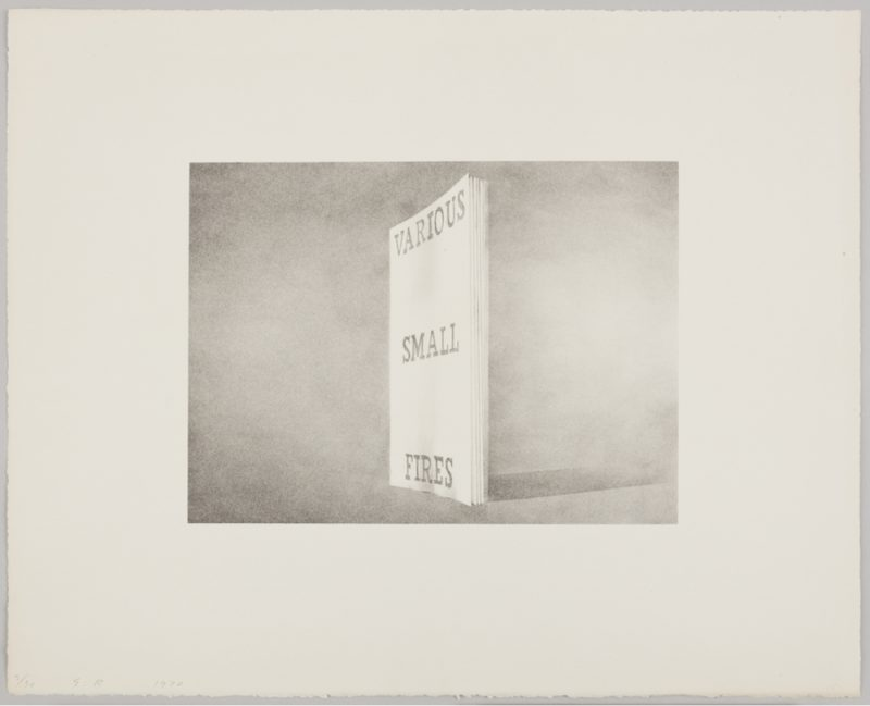 Ed Ruscha, Various Small Fires, 1970. Lithograph on white Arches paper, 16 × 20 inches. Edition of 30. © Ed Ruscha. Courtesy of Gagosian Gallery.
