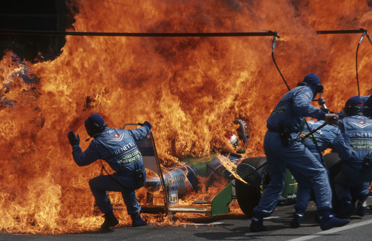 Arthur Thill (Luxembourgish, born 1950), Narrow Escape – Fire Incident in Hockenheim, German F1 Grand Prix, July 31, 1994, printed 2016. Inkjet print, 7 1/2 x 11 1/2 inches. Courtesy of the artist/ATP Photo Agency and the Brooklyn Museum.