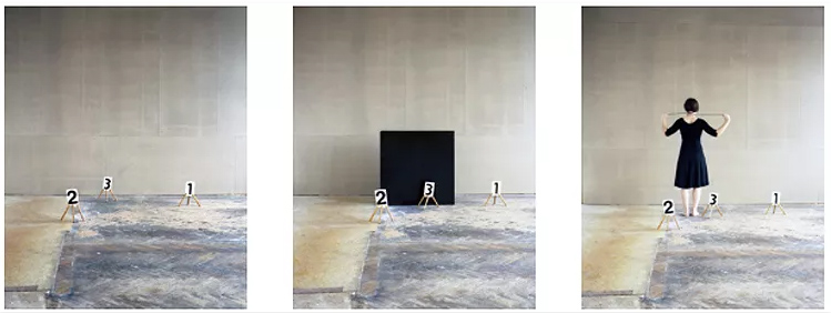 Nadja Bournonville, Some Marks, a Square and Figure (triptych), 2012. Analog C-print, Ed. #2/3 + 2 A.P, 29 x 23.25 inches each