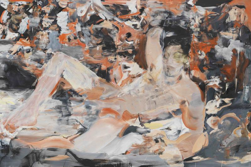 Cecily Brown, Raspberry Beret, 2015-16. Oil and pastel on linen, 43 x 65 inches. Courtesy of Cheim & Read.
