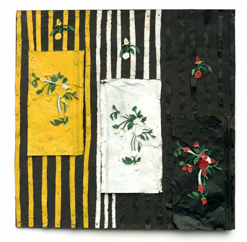 Ronald Lockett, England's Rose, 1997. Tin and paint on wood, 48.25 x 48.25 inches