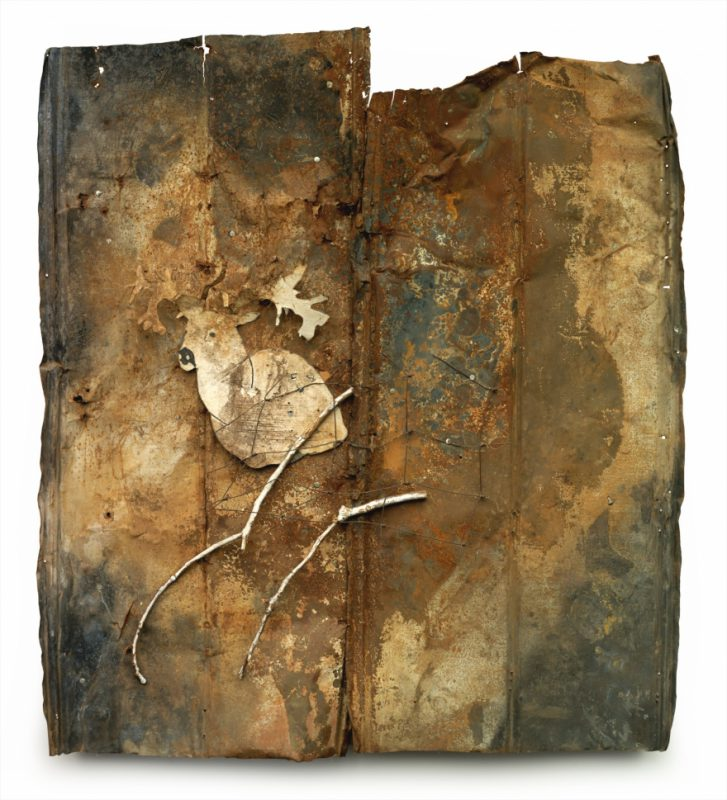 Ronald Lockett, Once Something Has Lived It Can Never Really Die, 1996. Wood, enamel, graphite, tin. found materials, industrial sealing compound, on wood, 57 x 50.5 x 4 inches
