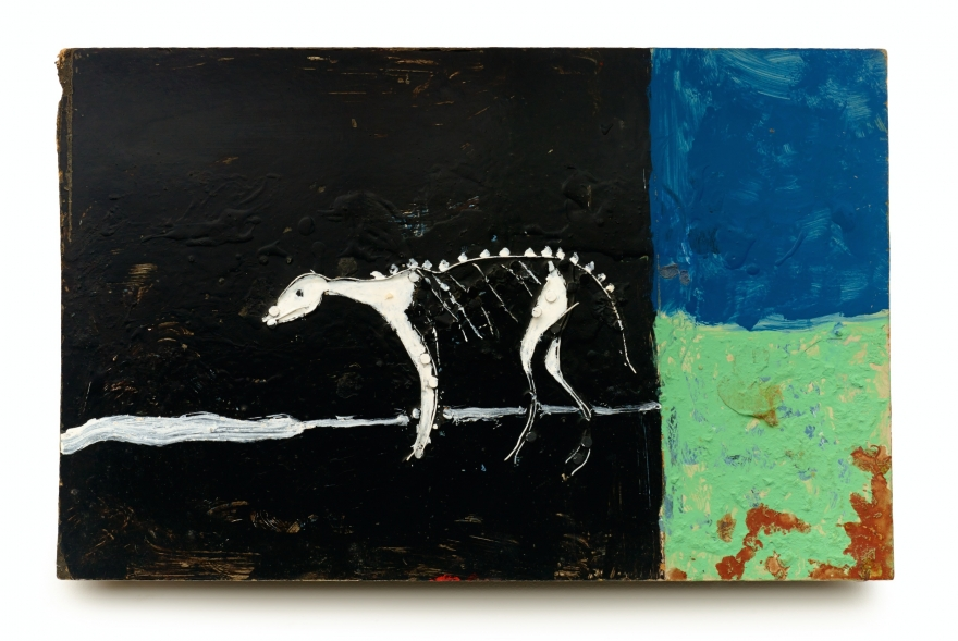 Ronald Lockett, Rebirth, 1987. Wire, nails, and paint on Masonite, 12 x 18.5 inches.