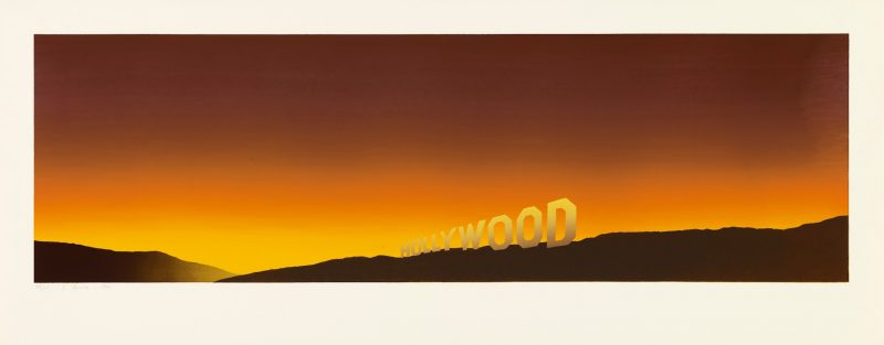 Ed Ruscha, Hollywood, 1968. Color screenprint, 17 1/2 x 44 7/16 in.Published by the artist. Fine Arts Museums of San Francisco, Museum purchase, Mrs. Paul L. Wattis Fund, 2000.131.7.1 © Ed Ruscha.