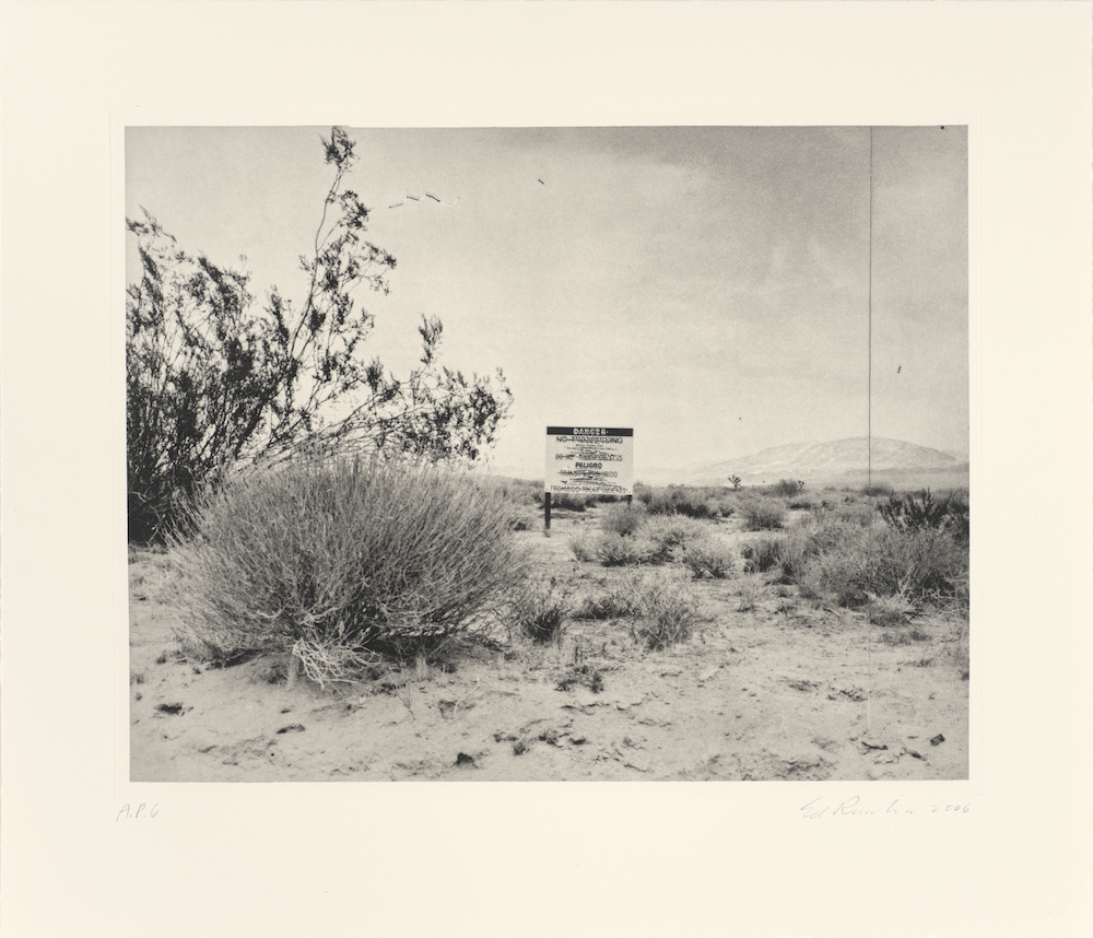 Ed Ruscha, Desert Gravure, 2006. Photogravure, 21 1/4 x 24 3/4 in. Published by Crown Point Press, San Francisco. Collection of the Fine Arts Museums of San Francisco. Crown Point Press Archive, gift of Crown Point Press, 2006.94.2 © Ed Ruscha. Courtesy of the Fine Arts Museums of San Francisco.