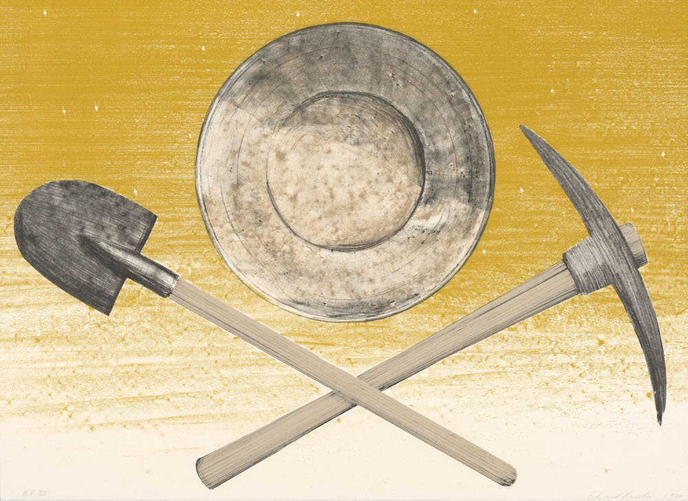 Ed Ruscha, Pick, Pan, Shovel, 1980. Color lithograph, 22 3/16 x 30 1/16 inches. Published by Graphic Arts Council, Los Angeles County Museum of Art. Collection of the Fine Arts Museums of San Francisco. Museum purchase, Mrs. Paul L. Wattis Fund., 2000.131.95.1 © Ed Ruscha. Courtesy of the Fine Arts Museums of San Francisco.