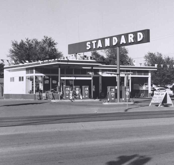 Ed Ruscha, Standard Station, Amarillo, Texas, 1962. Gelatin silver print, 4 15/16 x 5 1/16 inches. Collection of the Whitney Museum of American Art, New York. Museum purchase, with funds from The Leonard and Evelyn Lauder Foundation, and Diane and Thomas Tuft. Courtesy of the Fine Arts Museums of San Francisco.