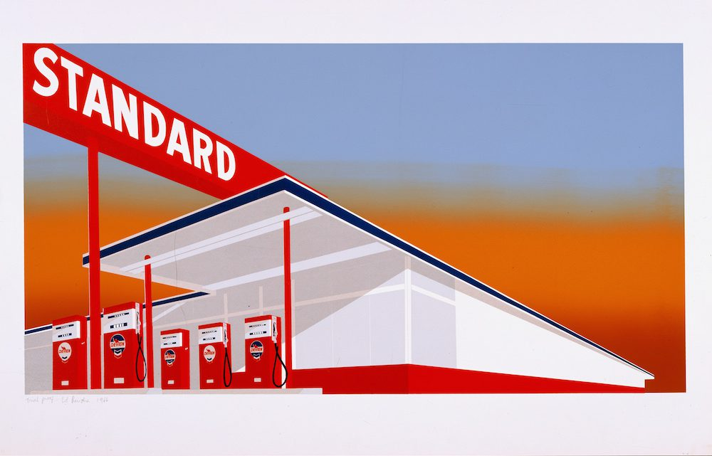 Ed Ruscha, Standard Station, 1966. Color screenprint, 25 5/8 x 40 inches. Published by Audrey Sabol, Villanova, PA. Collection of the Fine Arts Museums of San Francisco. Museum purchase, Mrs. Paul L. Wattis Fund, 2000.131.5.1 © Ed Ruscha. Courtesy of the Fine Arts Museums of San Francisco.