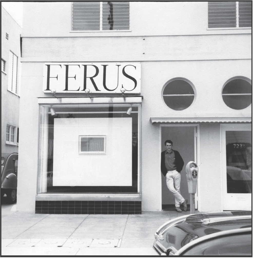 Ed Ruscha in front of Ferus Gallery, 1963. © Ed Ruscha.