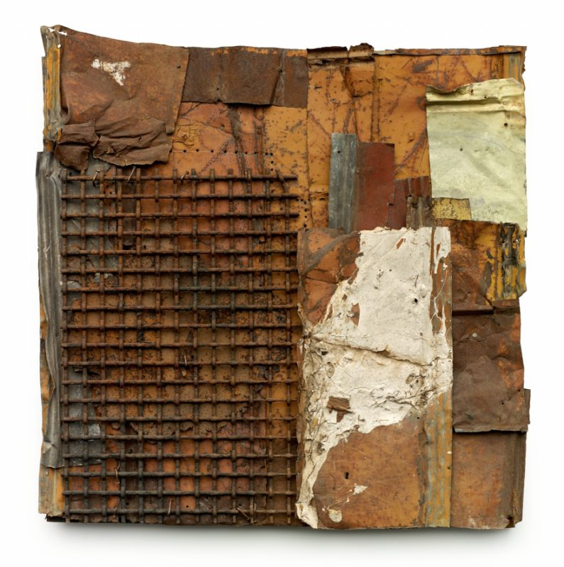 Ronald Lockett, Timothy, 1995. Found sheet metal, tin, wire, paint, nails, on wood 45 x 43.25 x 3 inches