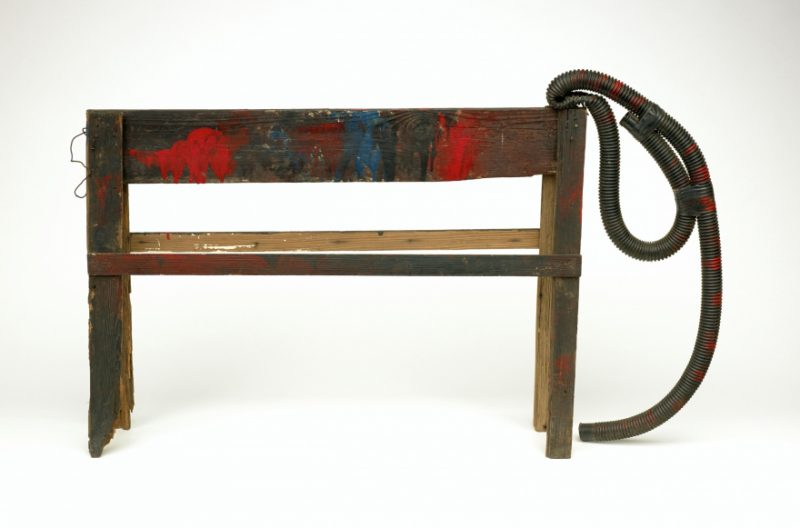 Ronald Lockett, Untitled Elephant, 1988. Wood sawhorse, wire, vacuum-cleaner hose, industrial sealing compound, paint, 30 x 54 x 9 inches.