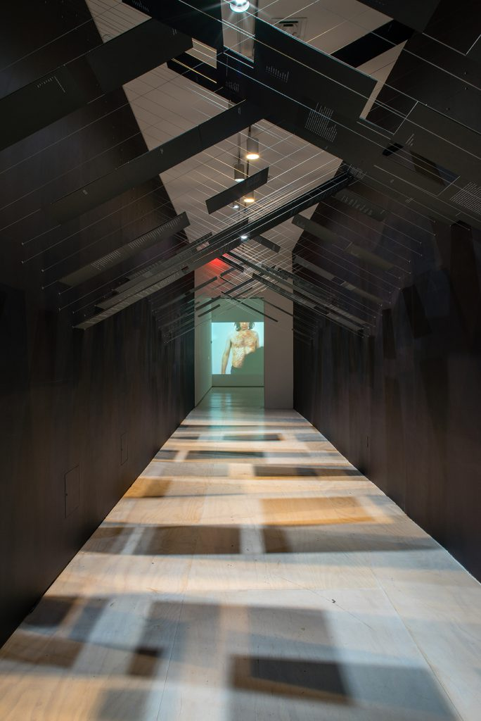 Installation view of VITO ACCONCI: WHERE WE ARE NOW (WHO ARE WE ANYWAY?), 1976 at MoMA PS1, 2016. Image courtesy of Acconci Studio and MoMA PS1. Photo by Pablo Enriquez.