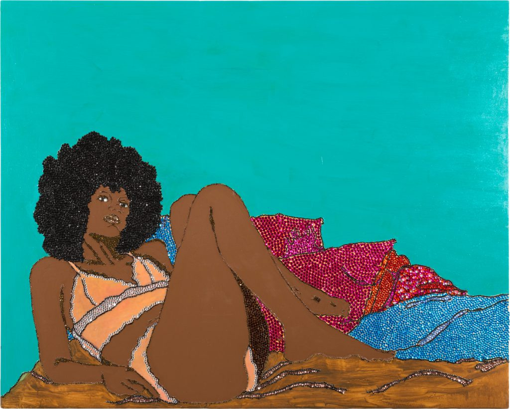 One of the top lots of Paddle8's upcoming Post-War & Contemporary Art sale this July focusing on Contemporary Figuration. Featured here: Mickalene Thomas, Love, Livin, & Givin, 2004, rhinestones, acrylic, and enamel on wood, 48 x 60 inches.