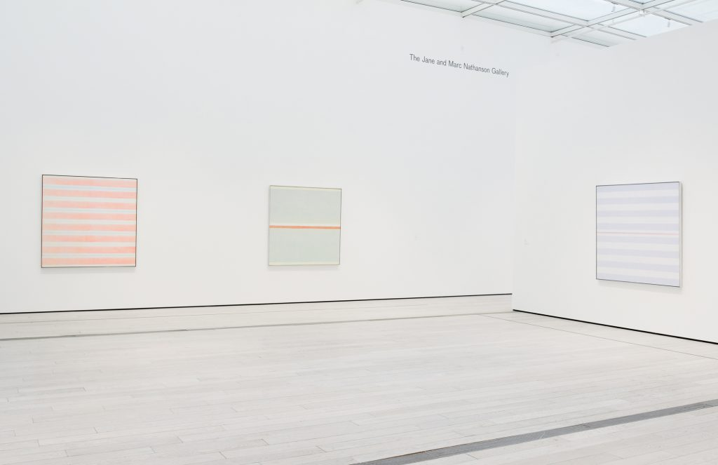 Installation view, Agnes Martin, April 24 - September 11, 2016. Los Angeles County Museum of Art. Art © Agnes Martin/Artist Rights Society (ARS), New York. Photo © Museum Associates/LACMA