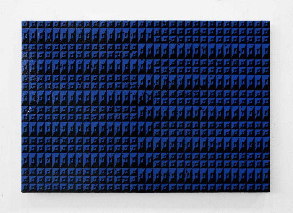 Matt Mignanelli, Crosstown, 2016. Enamel on canvas, 22 x 32 inches. Courtesy of Hollis Taggart Galleries.