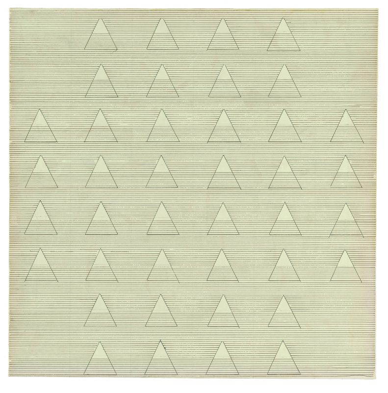 Agnes Martin, Words, 1961, ink and paper mounted on canvas, 24 x 24 inches, Thomas Ammann Fine Art AG, Zurich, © 2016 Agnes Martin/Artists Rights Society (ARS), New York, photo courtesy Thomas Ammann Fine Art