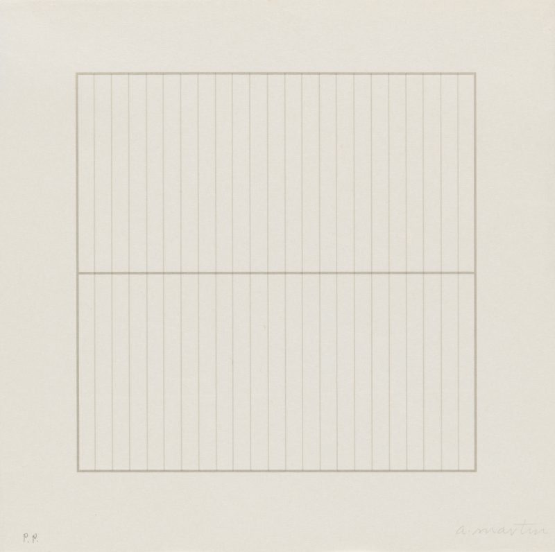 Agnes Martin, Untitled from the portfolio On a Clear Day, 1973, one of thirty screenprints, 12 × 12 in. (30.4 × 30.4 cm). Los Angeles County Museum of Art, purchased with funds provided by the Kotick Family Foundation in honor of Lynda and Stewart Resnick through the 2007 Collectors Committee, © 2016 Agnes Martin/Artists Rights Society (ARS), New York, photos © Museum Associates/LACMA